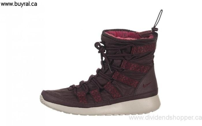 Canada Shoes 2014 Nike Womens Relaxed Roshe Run High SneakerBoot Deep Burgundy Red Light Bone-Team / 615968-601 BCDEIKLNVY