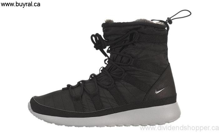 Canada Shoes 2014 Nike Womens Roshe Run High Invest SneakerBoot 615968-002 Anthracite-Sail Black / GISUX02789